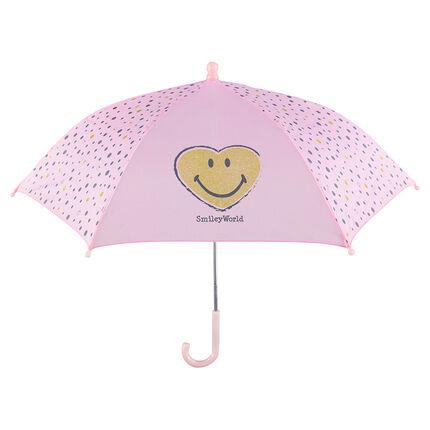 Paraguas rosa con lunares y ©Smiley