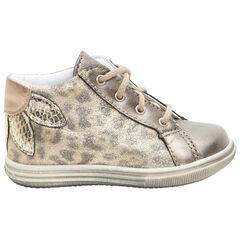 Botines de cuero con efecto leopardo con cordones