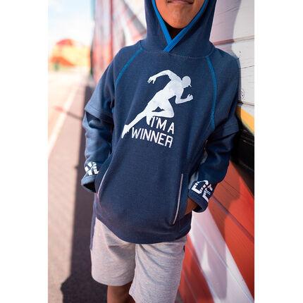 Sudadera de felpa con capucha, estampado de estilo deportivo y bolsillos con cremallera
