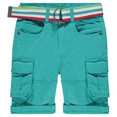 Bermudas cargo con bolsillos y cunturón desmontable a rayas