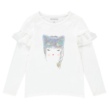 Camiseta de manga larga de punto con cara y máscara de lentejuelas mágicas