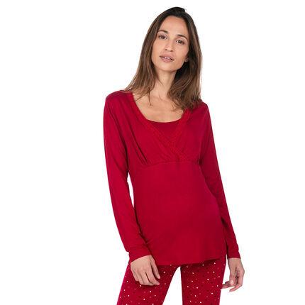 Camiseta homewear de embarazo y lactancia con encaje