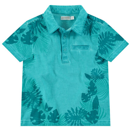 Polo de manga corta de algodón teñido con estampado tropical all-over