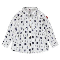 Camisa fluida de manga larga con estampado de fantasía