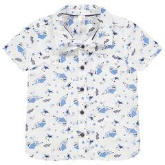 Camisa de manga corta con estampado de fantasía all over.