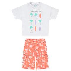 Conjunto con camiseta y bermudas con estampado de palmeras y surf