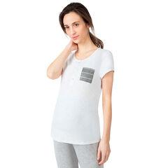 Camiseta de manga corta de premamá y lactancia con bolsillo de rayas
