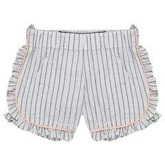 Shorts de algodón neps con rayas invertidas y volantes