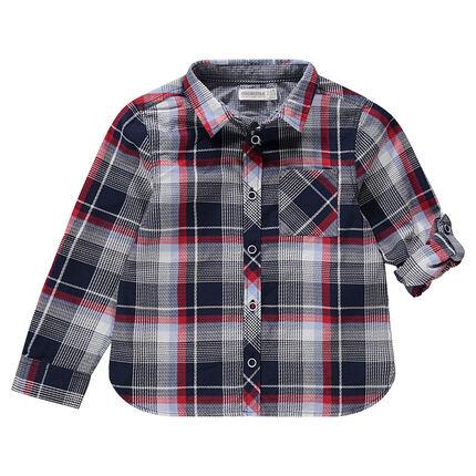 Camisa de manga larga de cuadros con bolsillo tipo parche