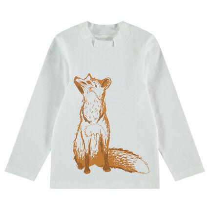 Camiseta con cuello chimenea y estampado