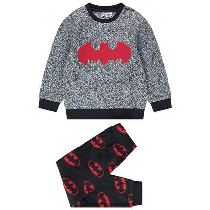 Pijama de polar con logos de Batman Warner