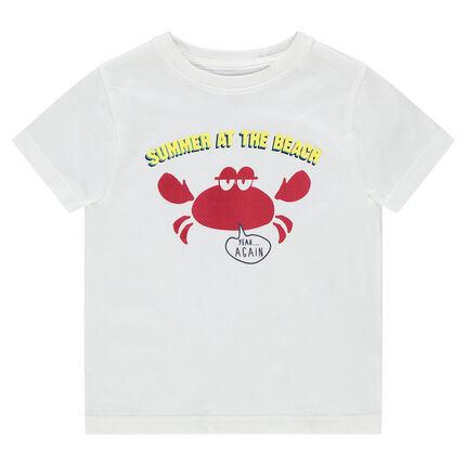 Camiseta de manga corta de punto con estampado de fantasía de estilo vacacional