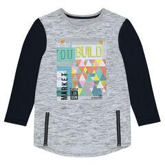 Júnior - Camiseta de punto de manga larga con estampado y cremalleras