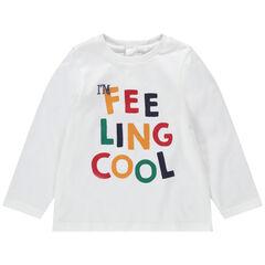 Camiseta de manga larga de punto con mensaje estampado