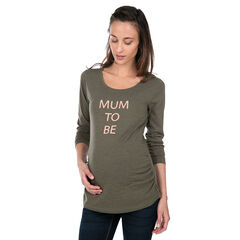 Camiseta de premamá de manga larga de punto con mensaje estampado