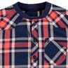 Camisa de amplios cuadros que contrastan y cuello de estilo teddy