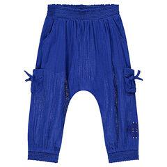 Pantalón bombacho de crespón con bolsillos y bordados