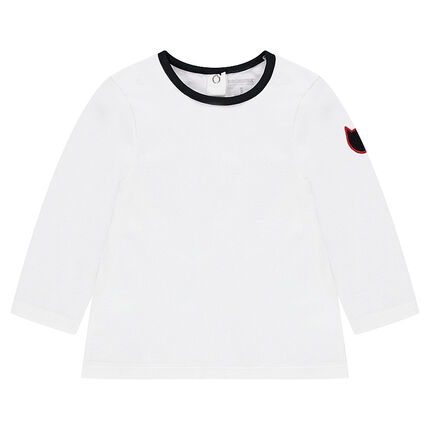 Camiseta de manga larga de punto con parche en forma de gato