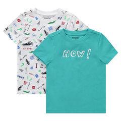 7c3e6c23fb9 Juego de 2 camisetas de manga corta con estampado all-over lisa