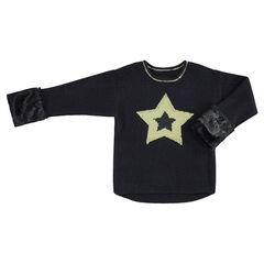 Jersey de punto con estrella de lentejuelas mágicas y pelo falso