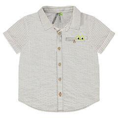 Camisa de manga larga de rayas de fantasía y bolsillo con aplique de cocodrilo