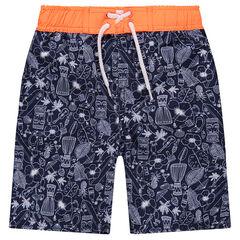 Pantalón corto de baño estampado all over con cintura que contrasta