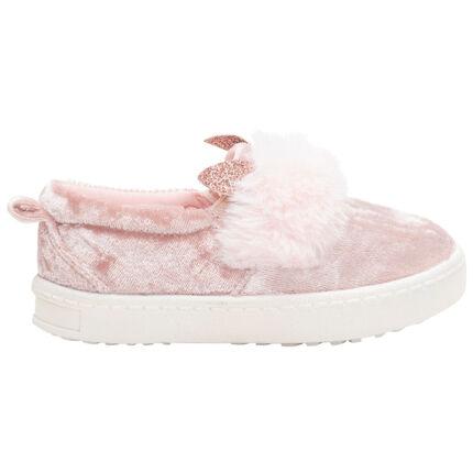 Zapatillas de terciopelo con suela de cuña
