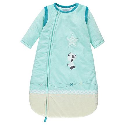 Saquito para dormir con manga desmontable de terciopelo con pandas con bordado