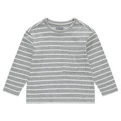 Júnior - Camiseta de manga larga con punto de fantasía a rayas con bolsillo