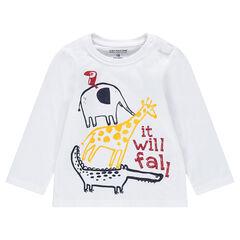Camiseta de manga larga de punto con estampado de animales