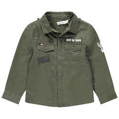 Júnior - Camisa de algodón estampado con parches e inscripciones estampadas