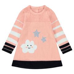 Vestido de manga larga de punto con nube y estrellas de jácquard