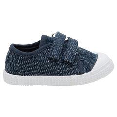 Zapatillas bajas azules de tela mezclada con hilo brillante de la 24 a la 29