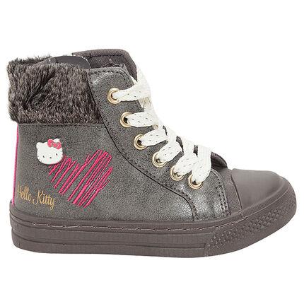 Zapatillas subidas de Hello Kitty con pelo falso