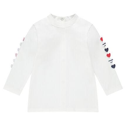 Camiseta de manga larga de punto con corazones de relieve en las mangas
