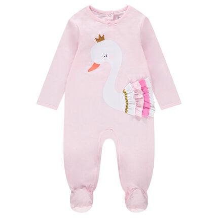 Pijama de punto con cisne estampado y volantes