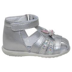 Sandalias de piel plateada con tiras iridescentes