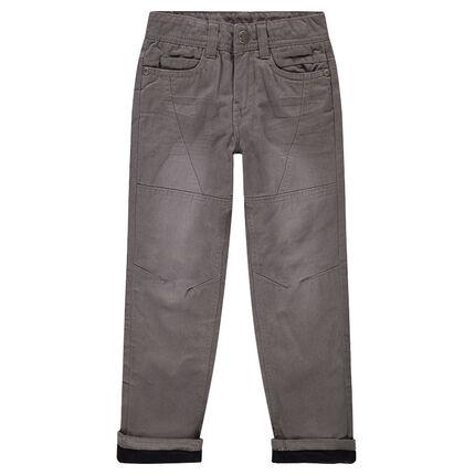 Pantalón recto de popelina de algodón con forro de micropolar