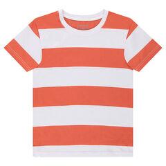 Júnior - Camiseta de punto de manga corta con franjas que contrastan