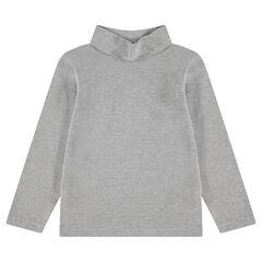 Camiseta interior de punto con cuello vuelto y logo bordado
