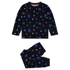 Pijama de terciopelo con dibujos de extraterrestres