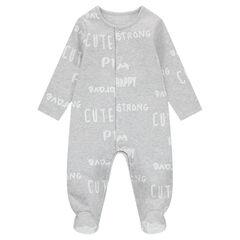 Pijama de felpa con forro cepillado y textos estampados all over