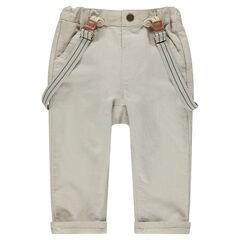 Pantalón de algodón y lino con tirantes desmontables elásticos
