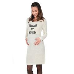 Vestido premamá de manga larga con mensaje