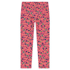 Jeggings rosas con estampado de flores all over