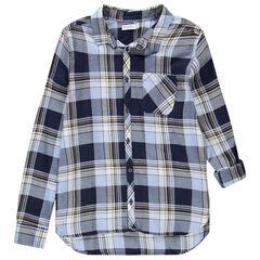 Júnior - Camisa de manga larga con cuadros grandes con bolsillo
