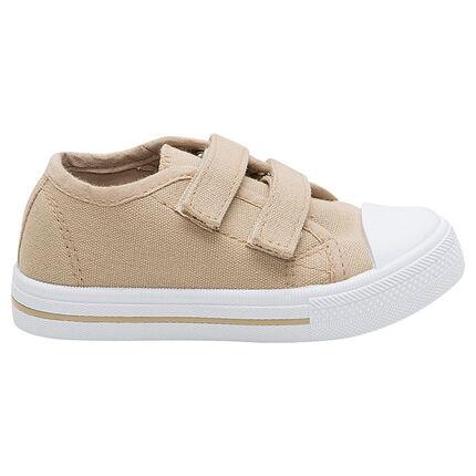 Zapatillas bajas de tela lisa beige con velcro del 24 al 27