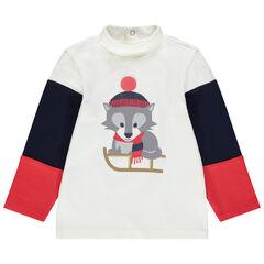 Camiseta interior tricolor de cuello vuelto con animal estampado