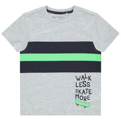 Camiseta de manga corta de algodón con bandas estampadas