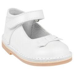 Zapatos merceditas con velcro de cuero de color blanco con lazos